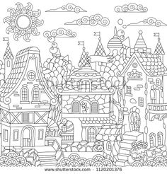 House Colouring Pages, Coloring Book Pages, Zen Colors, Printable Adult Coloring Pages, Fairytale Castle, Fantasy, Portfolio, Fairy Tales, Drawings