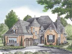 Home Plan HOMEPW16875 is a gorgeous 4290 sq ft, 2 story, 3 bedroom, 3 bathroom plan influenced by  European  style architecture.