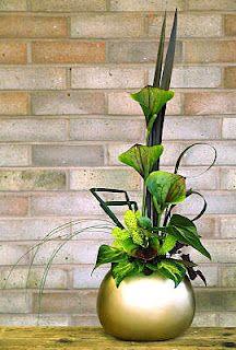 ikebana arrangement. tropical flowers.