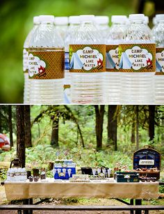 Boys Camping Birthday {Party in the Woods!}. Pretzel kindling and fruit leather, among other details.
