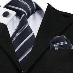 Classic Blue Striped Mens Silk Necktie Hi Tie Hanky Cufflinks Cufflink Set, Suit Vest, Tie Set, Tie And Pocket Square, Skinny Ties, Blazer Dress, Cool Suits, Adulting, Silk Ties