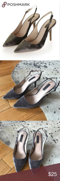 Topshop Grey Velvet Slingback Heels BRAND NEW & NEVER WORN. Still has tags. Features velvet textile all over and 3 inch heels. Topshop Shoes Heels