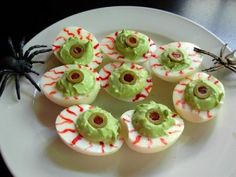 Deviled egg eyeballs- hahaha!