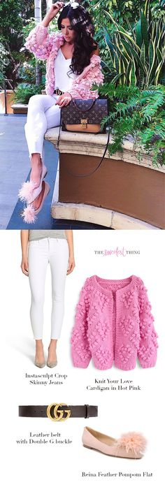 White Skinny Jeans | Pink Cardigan | Gucci Leather belt | Feather Pompon Flat | Emily Gemma | Emily Gemma Outfit | Emily Ann Gemma | The Sweetest Thing Blog | Spring Trends | Spring 2018 | Fashion Outfit | Casual Outfit #womensfashion #emilygemma #thesweetestthingblog