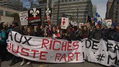 Une dizaine de membres de l'Association des locataires de l'Abitibi-Témiscamingue (ALOCAT) se sont rendus, cet après-midi,au centre-ville de Montréal, pour protester contre les politiques d'austérité du gouvernement du Québec.