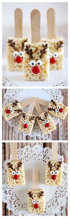 Reindeer Rice Krispies Treats- So cute! Christmas Snacks, Christmas Cooking, Christmas Goodies, Christmas Candy, Holiday Treats, Christmas Holidays, Christmas Crafts, Xmas, Christmas Rice Krispie Treats