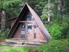 The Salt Chuck East modified A-frame cabin has an oil heater (#1 stove oil only), sleeping loft, 2 single bunks, wooden table and benches, pit-type outhouse ...