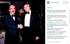 """A image of Donald Trump with his father Fred C., from Donald Trump's Instagram page, where he says """"Happy Fathers Day to all! I had a wonderful and loving father."""""""