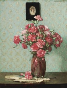 Pink Carnations with an Ivory Fan by Jan Bogaerts, 1918.