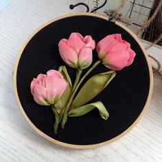 Items similar to Embroidery hoop art Silk ribbon Pink tulips on the Black background Framed in Wooden hoop Wall hanging on Etsy Hand Embroidery Flower Designs, Ribbon Embroidery Tutorial, Silk Ribbon Embroidery, Embroidery Hoop Art, Hand Embroidery Patterns, Embroidery Supplies, Embroidery Stitches, Hungarian Embroidery, Embroidery Jewelry