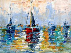 colorful sailboat | Original oil painting - Harbor Boats - impressionistic palette knife ...