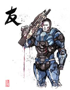 Mass Effect (Japanese Calligraphy Art) James Vega Sumi and watercolor style by MyCKs on DeviantArt Mass Effect 1, Mass Effect Universe, Japanese Calligraphy, Calligraphy Art, Sumi Ink, Dragon Age, Watercolor Paper, Character Design, Character Art