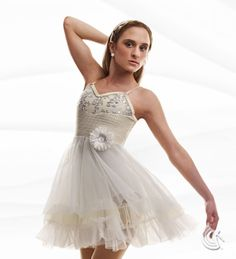 Curtain Call Costumes® - Heaven Ivory nylon/spandex leotard with white sequin embroidered mesh bodice overlay, pleated poly/spandex midriff panel, and flower trim. Attached white and ivory tricot skirt with ruffle trim. INCLUDES: rhinestone headband. https://curtaincallcostumes.com/products/product-page-t.php?prodid=7558