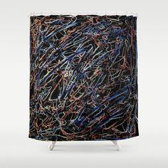 Blue and Peach Electricity 8653 Shower Curtain by Celeste - $68.00  #homedecor  #bathroom