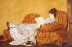 Young Lady Reading (1878). Mary Cassatt (American, 1844-1926).Regarded by Europeans as one of the most talented painters of the Impressionist group, Cassatt took an active interest in and explored their new approaches to color theory, brushwork, and figure-ground relationships. Her compositions were influenced by those often used by Degas, her teacher and friend for many years.