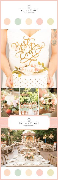 I finally found it! The perfect cake topper for my mint and gold themed wedding! Seriously--the most amazing cake topper alternatives on this site www.betteroffwed.co