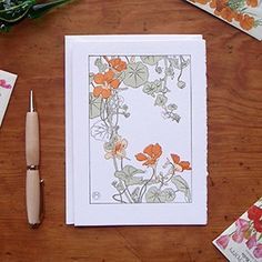 Letterpress Card | Saturn Press | Nasturtium