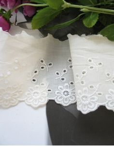cotton eyelet lace 1yard width 6.5cm unbleached by cottonholic, $3.40