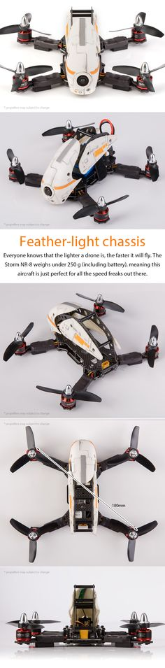 This model is discontinued    The miniature version of the popular SRD280 Ready to Fly Storm NR-8 with CC3D Controller (LibrePilot software)  Meet the smart little  brother of the beautiful SRD280: the Storm NR-8 min