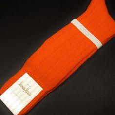Neiman Marcus Men's Wide-Rib Knit Cashmere Socks Bright Orange Made in Italy New #NeimanMarcus #Dress