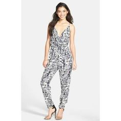 White and Navy Print Jumpsuit by Soprano. Buy for $52 from Nordstrom