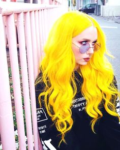 23 Visually Stimulating Cotton Candy Hair Color Ideas - I AM BORED - nailartgalleries Yellow Hair, Hair Color Blue, Blonde Color, Cool Hair Color, Orange Hair Bright, Pastel Yellow, Neon Hair, Pastel Hair, Cute Girls Hairstyles
