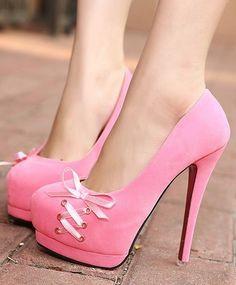 Pink Bow Knot Design High Heels