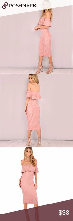 Faux Suede Off The Shoulder Ruffle Dress Backless Midi Millenial Pink Faux Suede Off The Shoulder Ruffle Dress. Dress falls below the knee. Model is in Size Small.   Material: Polyester, Spandex Size: Please Check Size Chart for measurement details before placing order Condition: New Dresses Midi