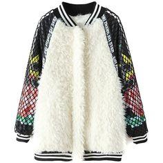 Choies White Faux Fur Baseball Coat With Mesh Sleeve (67,265 KRW) ❤ liked on Polyvore featuring outerwear, coats, coats & jackets, white, white coat, imitation fur coats, white faux fur coat, white fake fur coat and baseball coat