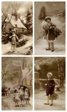 Sheet buiten spelen   Sheets postkaarten KERST   Nostalgie & Brocante