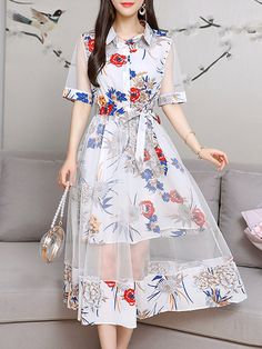 Cheap best Lace Layers Turn-down Collar Dresses for Women on Newchic, there is always a plus size casual dresse suits you! Stylish Dresses, Casual Dresses For Women, Pretty Outfits, Pretty Dresses, Cute Simple Dresses, Girls Fashion Clothes, Fashion Outfits, Dress Fashion, Collar Dress