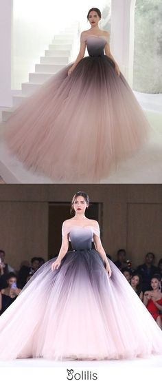Off the Shoulder Ombre Prom Dresses Backless Tulle Sweetheart Quinceanera Dresses