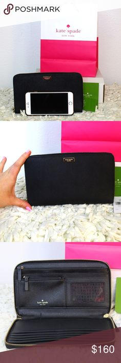"♠️ Kate Spade Black Talla Travel Wallet Brand New with tags Kate Spade Talla Newbury Lane Travel SAFFIANO LEATHER COLOR: BLACK MEASURES APPROX.: 9"" X 5.25"" X 1"" ZIP AROUND CLOSURE 14K PLATED LIGHT GOLD-TONE HARDWARE INTERIOR: PINK LEATHER, FABRIC LINING WITH KATE SPADE LOGO, 8 CREDIT CARD SLOTS, 2 FULL LENGTH SLOTS, 1 COIN ZIPPER POCKETS, 1 FULL LENGTH ZIPPER POCKET, ID WINDOW, PEN HOLDER,   EXTERIOR SLIP POCKET MSRP: $195 kate spade Bags Wallets"