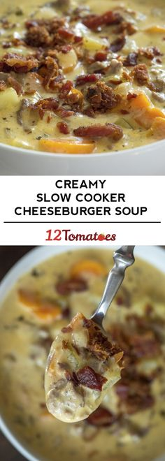 Super Cheesy Slow Cooker Cheeseburger Soup - so easy!