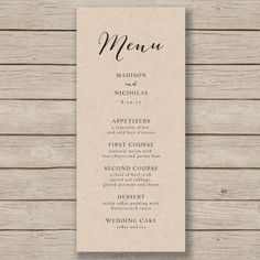 Wedding Menu Card Rustic Wedding Menus By Sidestreetdesigns