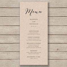 Wedding Menu Template Rustic Wedding Menu by HopeStreetPrintables