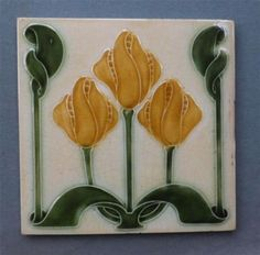 art nouveau tile designs | Nice Vintage Art Nouveau Tile Stylized Tulip Design Pilkington | eBay