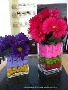 Jelly Beans and Peeps...how cute is this @Kimberly Roberts --i'm bringing one of these fo shiz