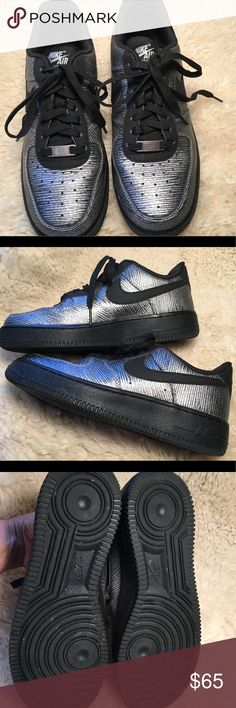 Like new Nike Air Force 1 silver and black sz7.5 Like new Nike Air Force 1 silver and black sz7.5. Purchased new from a fellow Posher in May 2017. Worn about 8x always for fashion (these are not work out shoes). Excellent condition, really like new, no flaws, I'm just ready for a different style . Nike Shoes Athletic Shoes