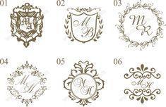 Brasões para convites de casamento 1-6