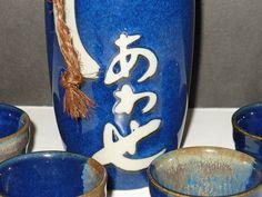 Ceramic Sake Set by Kotobuki Marked by designfinder on Etsy, $28.00
