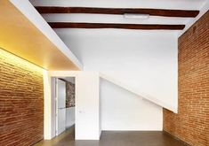 Remodelling and enlarging between dividing walls in the centre of Terrassa, Barcelona Duplex House, Ideal Tools, Contemporary Architecture, Second Floor, Living Area, Building A House, Barcelona, Stairs, Wall