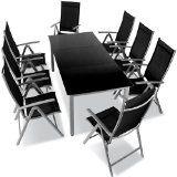 9-teilige Gartengarnitur Alu Sitzgarnitur Sitzgruppe mit Glastisch komfortable Aluminium Gartenmöbel hellgrau
