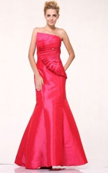 Red Mermaid/Trumpet Strapless Natural Long/Floor-length Sleeveless Taffeta Prom Dresses Dress