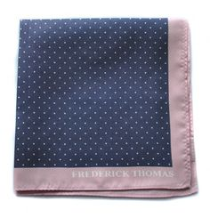navy and white pin spotted pocket square with pink edging