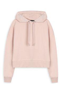Primark - Camisola com capuz curta cor-de-rosa
