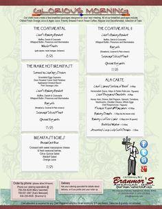 2012 Catering - Glorious Morning Menu | Branmor's American Grill