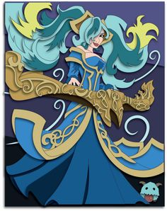 Commission: LoL Sona Shadowbox Mock-up by The-Paper-Pony on DeviantArt