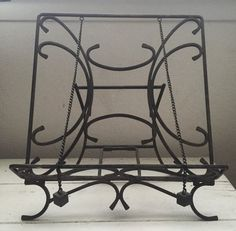 Iron Cookbook Stand Easel Art Vintage Kitchen Antique Black Book Wrought Foldable Retro