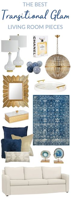 See the BEST Transitional Glam Living Room Pieces! These furniture lighting rug and wall accent pieces will update your decor instantly. If you love traditional meets contemporary style metallics gold white and blue then these decor ideas are for you! Blue And Gold Living Room, Blue Living Room Decor, Glam Living Room, Living Room Accents, Living Room White, New Living Room, Decor Room, Room Decorations, Living Room Carpet